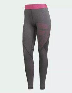 adidas womens alphaskin sport long tights (dark grey/magenta)Size XS