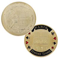 Gold Plated Coin Paris Notre Dame Cathedral Challenge Coin Souvenirs Gift EF