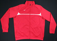 Nike Red White Sewn Swoosh Logo Full Zip Athletic Track Jacket Mens XL