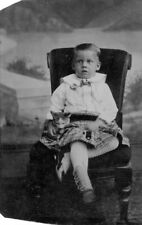 New listing Rare Child with Cat Kitten Tintype Button Shoes Striped Socks 1/6 Plate Antique