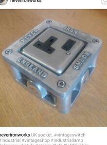Cast Metal Vintage Industrial Single Heavy Power Socket