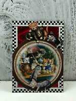 """ACEO Artist Trading Card """"Cat Life At Christmas"""" Handmade Stickers Glitter"""