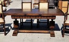Antique 1800's Dutch Refectory Pull-Out Universal Jacobian Table Carved Oak