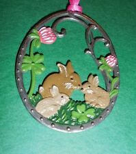 KUHN HAND PAINTED PEWTER FROM GERMANY EASTER/SPRING MOTIF BUNNY FAMILY