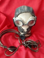 New listing Wwii Leather Flying Helmet with Goggles and Trimm Earphones used