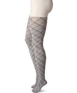 NWOT HUE Women's Fashion Tights w/Control Top, Assorted, Chrome Plaid Size L