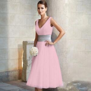 Frau Lang Midi Brautjungfernkleid Abschlußball Hochzeitskleid Party Abend Kleid.