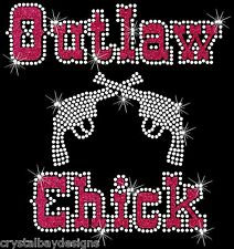 Outlaw Chick Cowgirl Guns Rodeo Sexy Glitter Rhinestone Bling Transfer Hot Fix