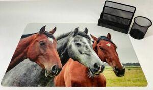 Schreibtischunterlagen Set Drei Pferde Ponys mit Stifteköcher und Briefhalter
