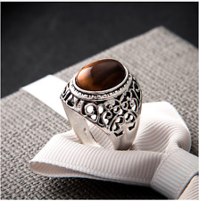 Gothic Silver Oval Natural Stone Tigers Eye Stainless Steel S8-11 Men Women Ring