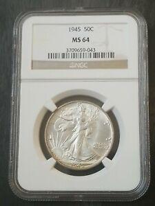 1945 walking liberty half dollar MS64 NGC Graded