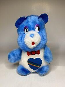 "Vintage 1984 Etone Blue Care Bear 12"" Plush Stuffed Animal W/Rainbow Heart Patch"