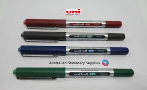 4 x Uniball Eye Micro Pen 0.5mm S/Steel Tip Capped UB150  Red Black Blue Green