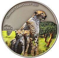 Gabun 1000 Francs 2015 Gepard Cheetahs Silver Ounce Antique Finish in Farbe