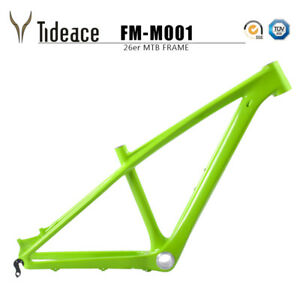 Green 26er Carbon OEM Mountain Bike Frames 3K Glossy MTB Bicycle Frameset BB92