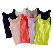 Women Casual Sun-top Vest With Chest Padded Wirefree Integrated Bra Tank-top