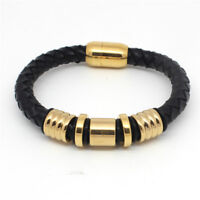 "Men's Stainless Steel 8"" Gold Black Braided Leather Magnetic Bracelet"