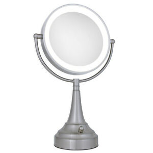 Zadro 10X / 1X LED Lighted Round Satin Nickel Vanity Magnifying Mirror