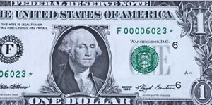 STAR NOTE 1993 $1 DOLLAR BILL ( ATLANTA F ) Super Low Serial # UNCIRCULATED