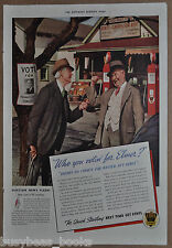 1936 ETHYL Gasoline advertisement small-town gas station gas pumps lead additive