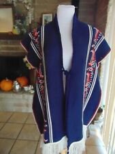 New listing Vintage Serape Poncho Blanket shawl Horse chariot carriage Red blue fringe 60's?
