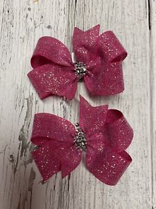 Hot Pink Glitter Pigtails Boutique Hair Bows Little Girl Shimmer Silver Trim