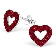 Corazón De Plata Esterlina Aretes con Cristal-Rojo-en Caja De Regalo
