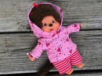 Kleidung  PULLI + HOSE  für  MONCHICHI Gr.20 Hoodie Kapuzenpulli Herzchen rosa