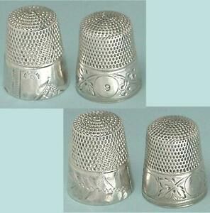 2 Antique Sterling Silver Thimbles by Simons Bros * One Pretty Rare * C1880s
