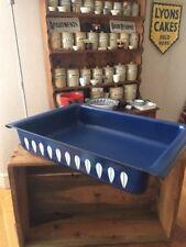 Vintage Cathrineholm Dark Blue & White Lotus Enamel Rectangular Baking Oven Dish