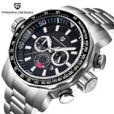 PAGANI DESIGN Men Rotate Bezel Steel Band Waterproof Chronograph Quartz Watch