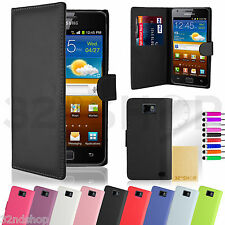 PU Leather Book Case Wallet Cover Samsung PHONES Stylus & Screen Protector Galaxy S2 I9100 Purple