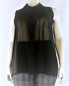 Women's Plain Sheer Chiffon Sleeveless Collar Shirt Blouse, Plus Size 14-28