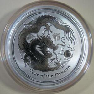 """2012 Silver Australian """"Year of the Dragon"""" Lunar - 1/2 oz. Perth Mint Coin Seal"""