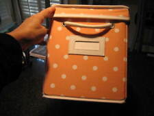 POTTERY BARN TEEN Peach Polka Dot DOTTIE Canvas Storage Bin Box with Lid