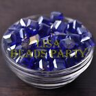 New 10pcs 10mm Cube Square Crystal Glass Loose Spacer Beads Deep Blue AB