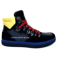 Gucci Men's Suede/Patent Leather High-Top Lace-Up Sneaker Boot 392167 8.5 G