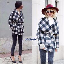 Stunning ZARA Grey Wool Checked Short Coat Size M