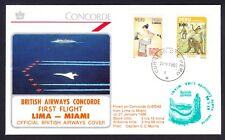 Peru USA 1986 Lima to Miami BA British Airways Concorde Cover FFC First Flight