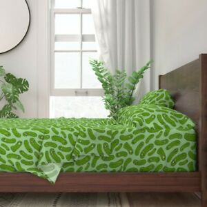 Pickles Pickled Cucumbers Jars Faces 100% Cotton Sateen Sheet Set by Roostery