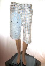 MINOX Womens Vtg 80s Casual Check Embellish Crop Pants Shorts Plus sz 16 18 AF38