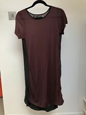 AllSaints Ceylan Tee Dress Burgundy with Sheer Black Details Size 10