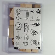 Stampin Up Tag Time Rubber Stamp Set Wood Mounted Holiday Birthday 14 Stamps