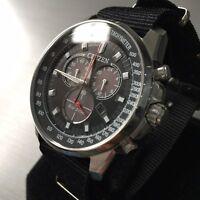 Mens Citizen Chronograph Watch Eco Drive H500 Series Black NATO Steel Genuine