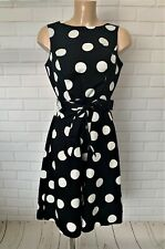 Black White Polka Dot Fit and Flare Deep Back Feature Knee Dress Size 6-20