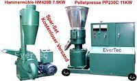 Pelletpresse PP230C 11KW & Hammermühle HM420B 7.5KW Holz & Tier Pellet Set