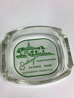 VINTAGE GLASS ADVERTISING ASHTRAY SOUTHINGTON SAVINGS BANK CONNECTICUT green/wht
