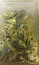 10 ILBA brass blue spotted SPINNER BLADES SIZE 3 GAME FISHING LURES FLYING C's