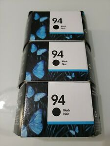 Genuine HP 94 Black Ink Cartridge C8765WN Lot of 3 Dated 2021 J