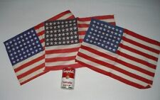 "3 Vintage Cotton 48-Star Parade Flags, 17"" by 11"", OLD"